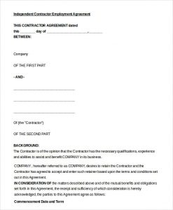 contract labor agreement independent contractor employment agreement