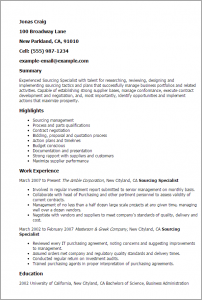 contract specialist resume sourcing specialist