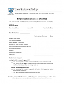 contract template word employee exit clearance checklist form texas southmost college d