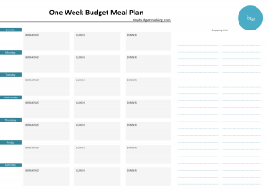 cookbook template free meal plan template www tinybudgetcooking com
