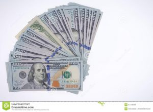 copy of bill of sale fanned arrangement dollar bills american benjamin franklins isolated white background viewed above copyspace
