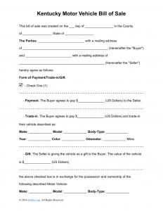 copy of bill of sale kentucky motor vehicle bill of sale template x