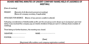corporate minutes template minutes of meeting example