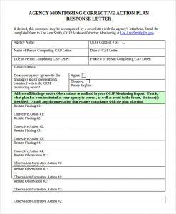 corrective action plan agency monitoring corrective action plan template
