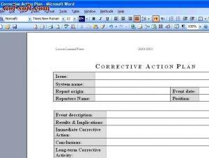 corrective action plan corrective action plan