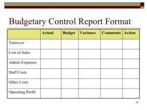 corrective action report budgeting and budgetary control