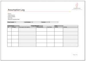 cost estimate template assumption log