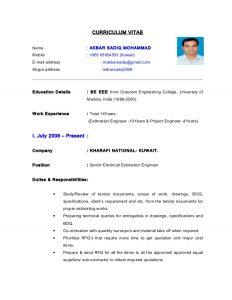 cost estimate template cv electrical estimation engineer