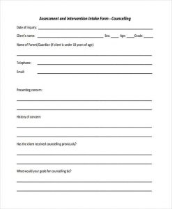 counseling intake form counseling intake assessment form