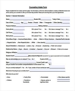 counseling intake form student counseling intake form