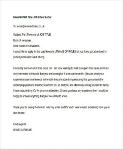 cover letter for part time job general part time job
