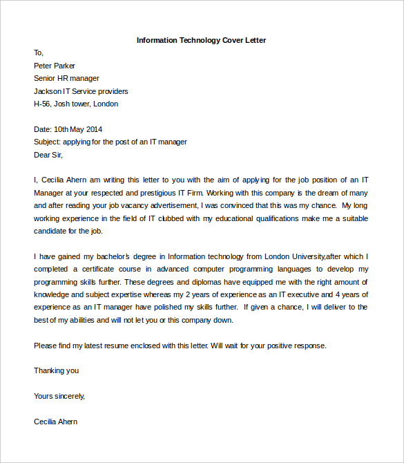 cover letter template free