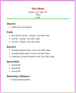 cover letter template word doc resume format simple objective profile