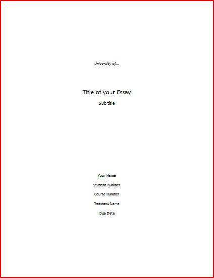 cover sheet format