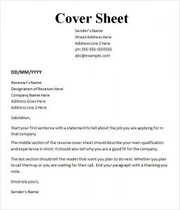 cover sheet format sample cover sheet template download
