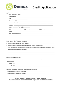 credit application form domus nursery credit application form 1