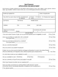 credit application form pdf sport seasons job application form