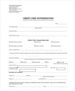 credit card authorization form pdf generic credit card authorization form
