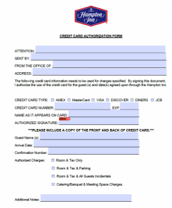 credit card authorization template hampton inn credit card authorization form x