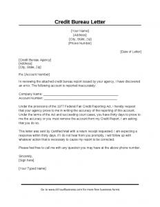 credit repair letters pdf sample credit bureau dispute letter