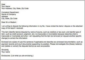 credit repair letters pdf sample dispute letter