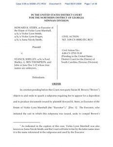 custody agreement template georgia order denying quash subpoena of s brown