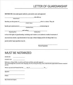 custody agreement templates example temporary notarized letter for guardianship template