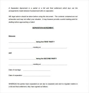 custody agreement templates sample party separtion agreement template