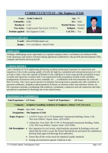 cv format template cover letter for resume of civil engineer