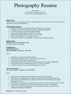 cv format template fashion photographer resume sample with senior photography experience