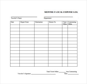 daily logs template travel expense log template