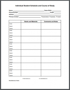 daily planner printable pdf student schedule course of study