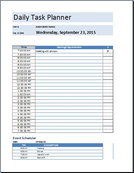 daily planner template excel