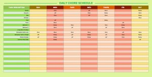 daily schedule template daily chore schedule template
