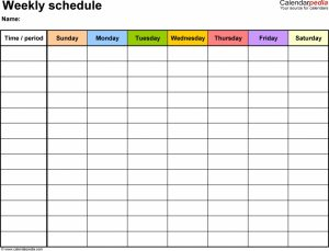 daily schedule template word free weekly schedule templates for word templates uj