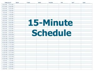daily task list template minute schedule
