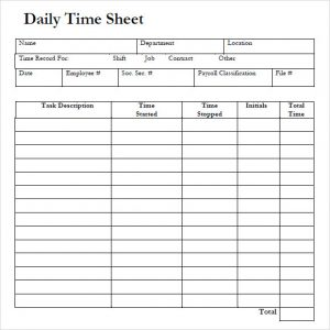daily time sheet daily timesheet template free download