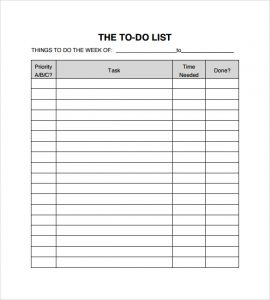 daily to do list templates sample to do checklist