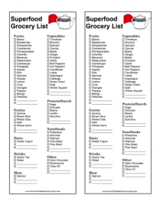 daily to do list templates superfood grocery list