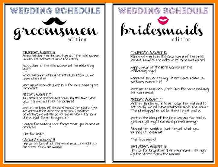 day of wedding checklist