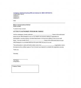 deal memo template authorization letter