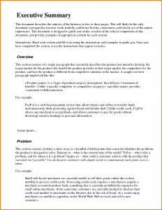 deal memo template executive summary format example