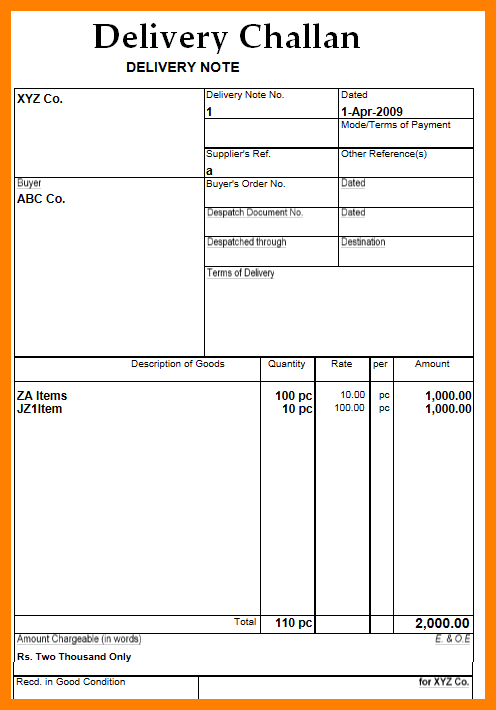delivery order template