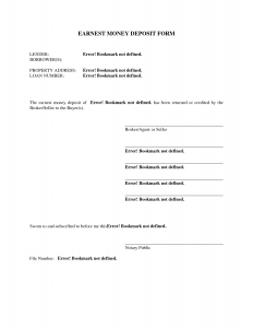 deposit receipt template earnest money agreement form