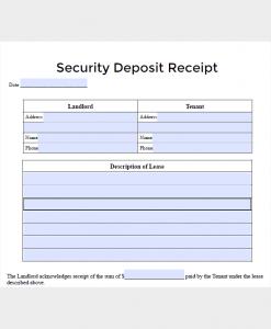deposit receipt template lease security deposit receipt