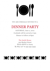 dinner invitation template dinner party invitations templates