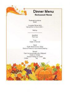 dinner menu template fruits dinner menu template