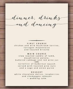 dinner menu template printable wedding dinner menu template sample download