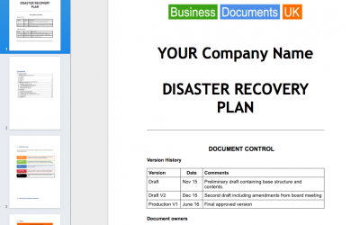 disaster recovery plan template screen shot at