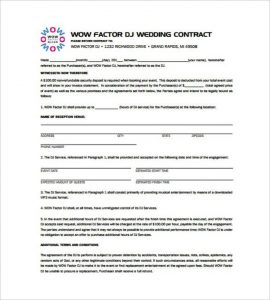 disc jockey contracts template free wedding dj contract template